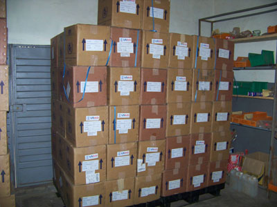 NTD drugs purchased by USAID for the integrated NTD control program in Sierra Leone are stored at a central warehouse.