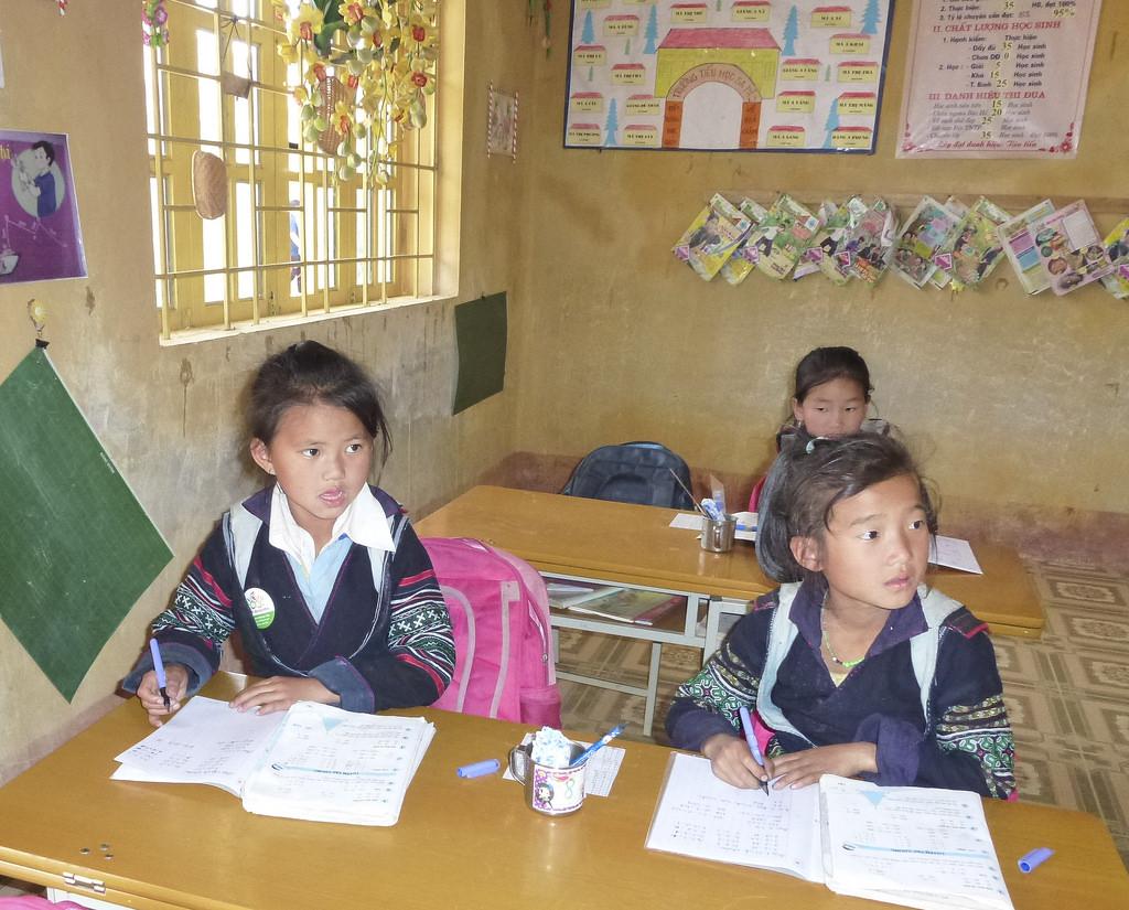 Children in doing work in class